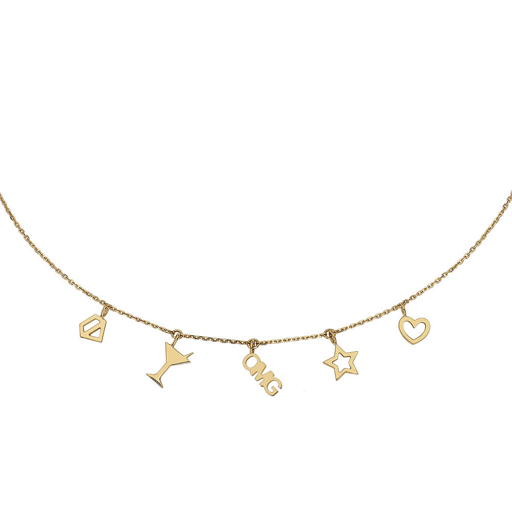 Pendant OMG Necklace With 18K Yellow Gold
