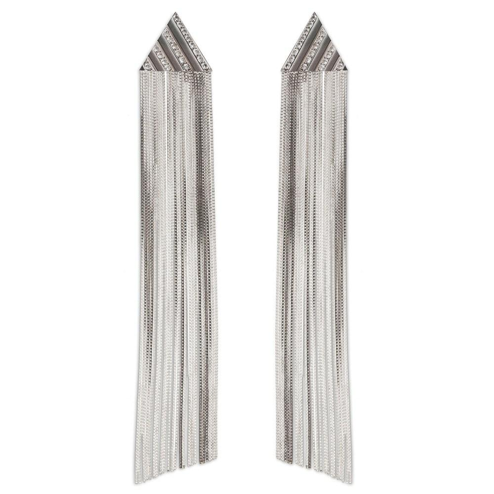 Pleats Triangle Fringe Earring With White Gold 18K And Diamonds