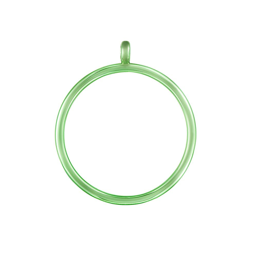Pop Chain Hoop Pendant Silver with Green Lacquer