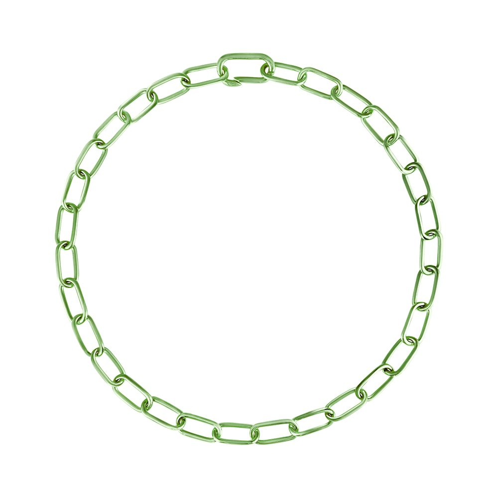 Pop Chain Necklace Silver with Green Lacquer
