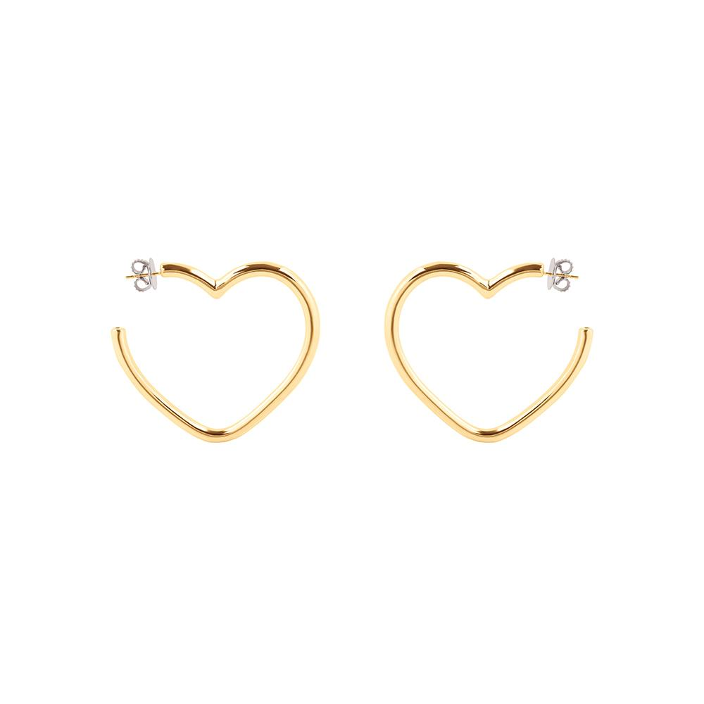 Pop Heart Hoop Earrings With 18K Yellow Gold Plated Silver