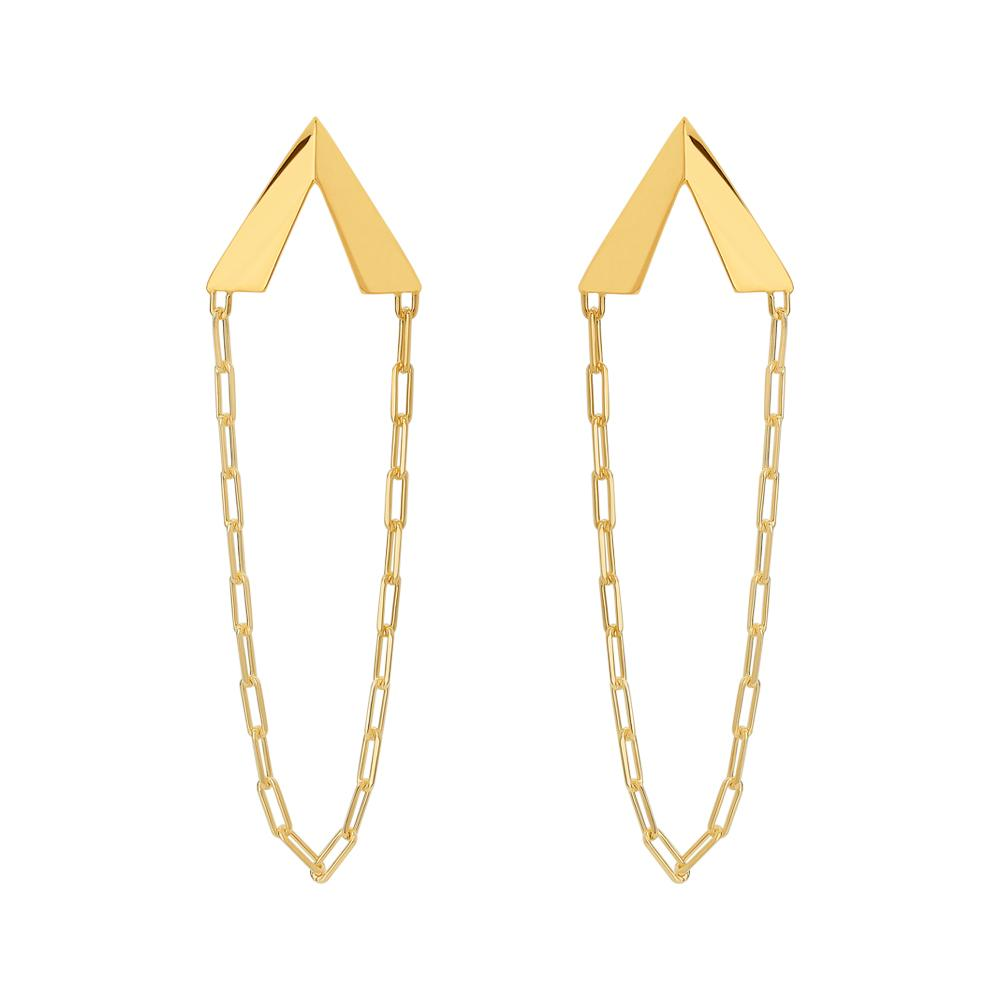 Rock Earrings With 18K Yellow Gold Plated Silver