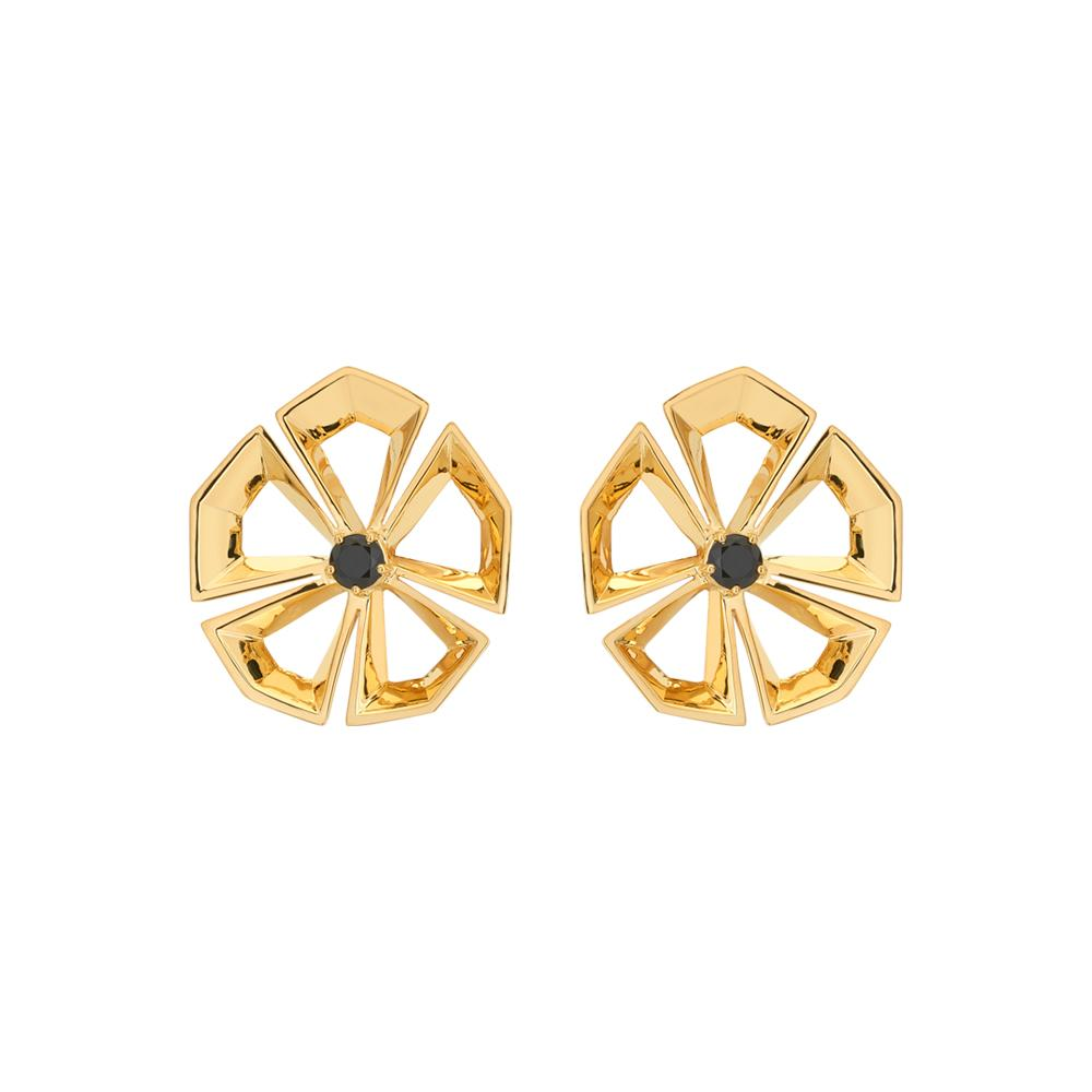 Rock Flower Earrings With 18K Yellow Gold Plated Silver And Black Agate