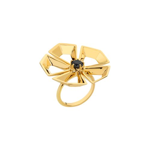 Rock Flower Ring 18K Yellow Gold Plated Silver and Black Agathe