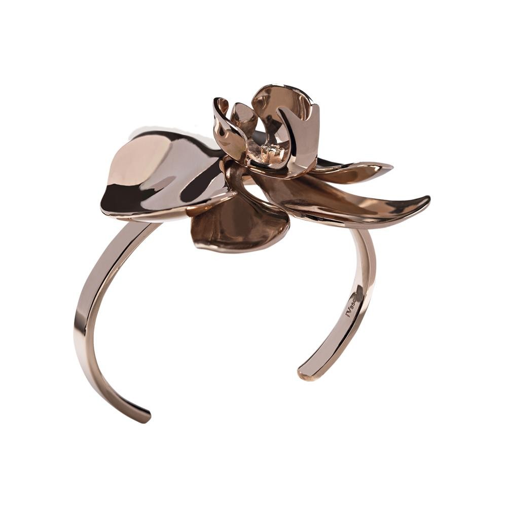 Rose Orchid Cuff With Silver With Rose Gold Vermeil And Diamond
