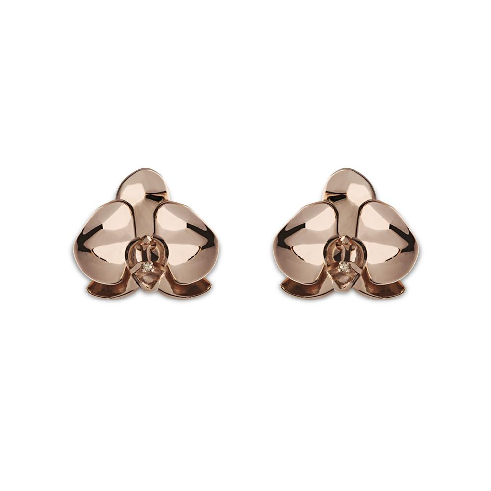 Rose Orchid Earring With Silver With Rose Gold Vermeil And Diamond