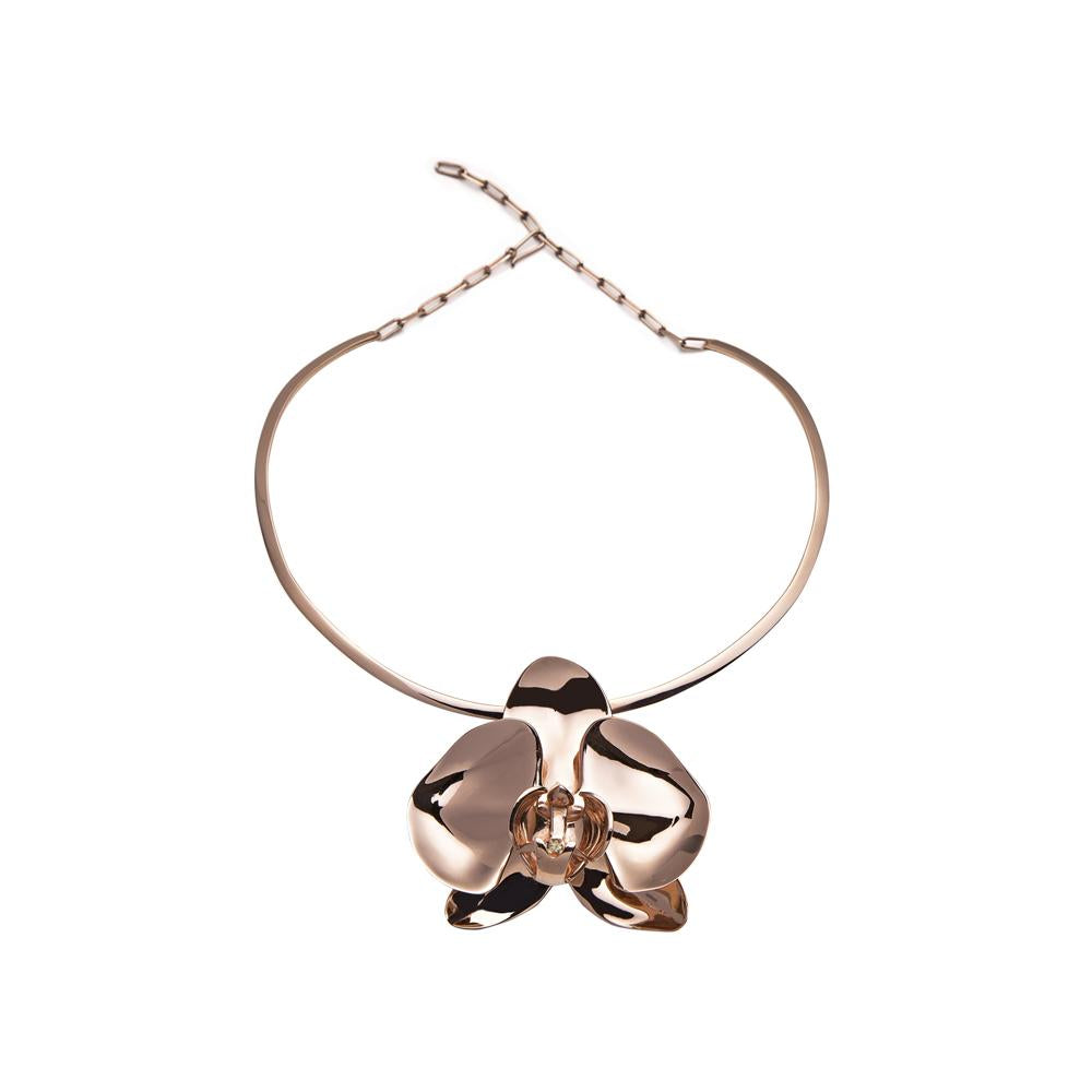 Rose Orchid Necklace With Silver With Rose Gold Vermeil And Diamond
