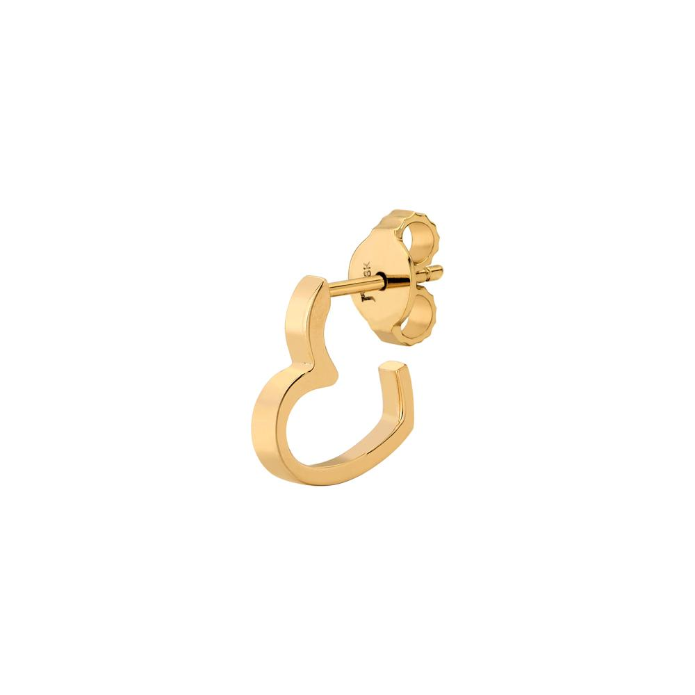 Single Heart Earring Piscine With 18K Yellow Gold