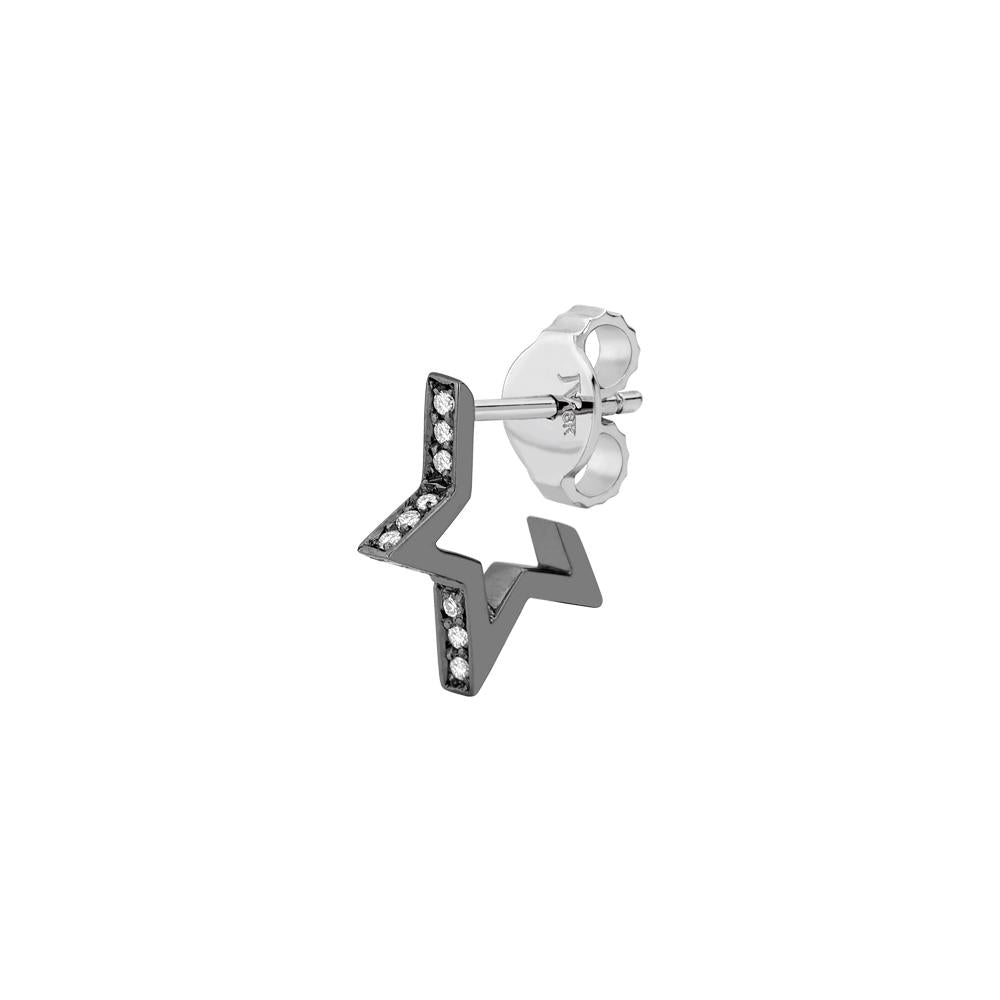 Single Star Earring Piscine With 18K White Gold And Black Rhodium And Diamonds Llb 0,07Ct