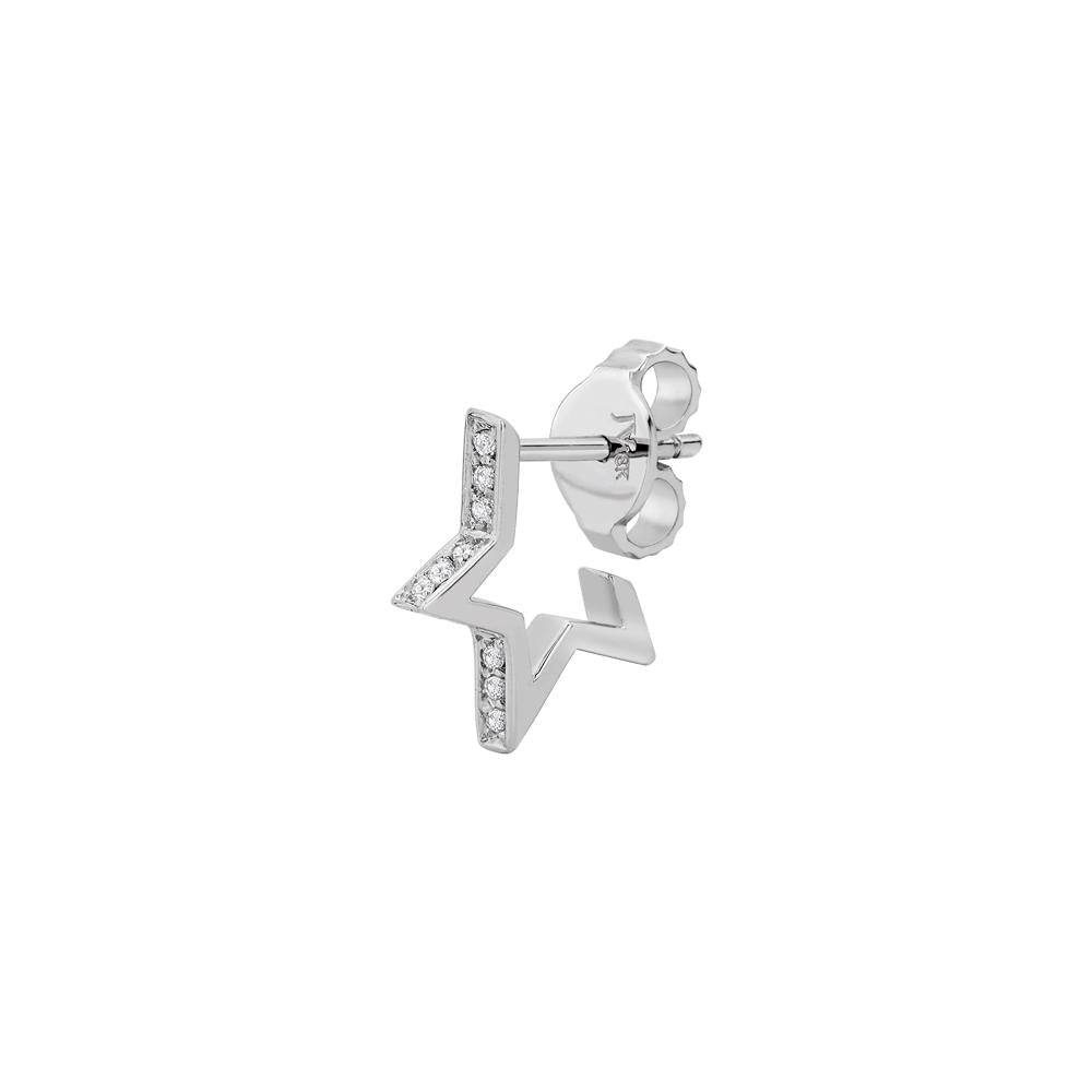 Single Star Earring Piscine With 18K White Gold And Diamonds 0,07Ct
