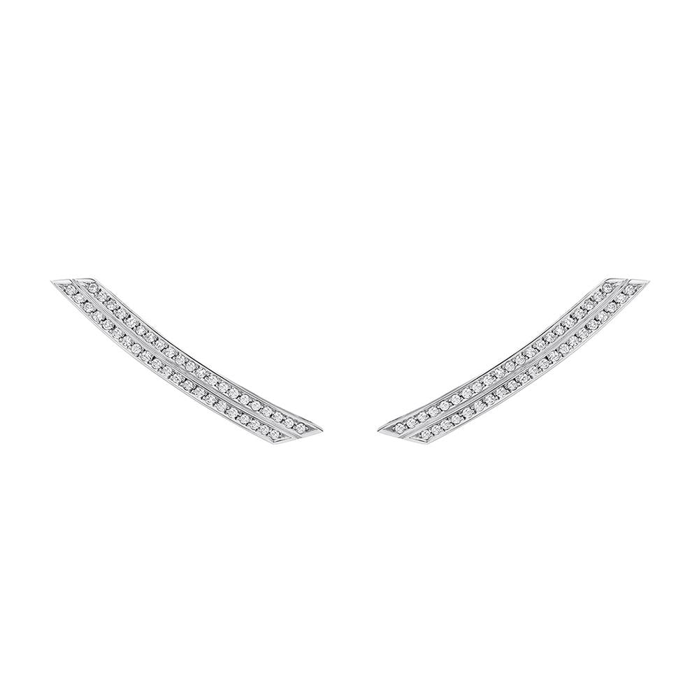 Slim Deco Comet With 18K White Gold And Diamonds