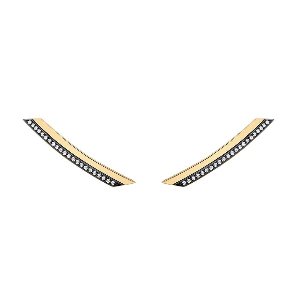 Slim Deco Comet With 18K Yellow Gold With Black Rhodium And Light Light Brown Diamonds