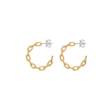 Small Chain Hoop Earrings With 18K Yellow Gold Plated Silver
