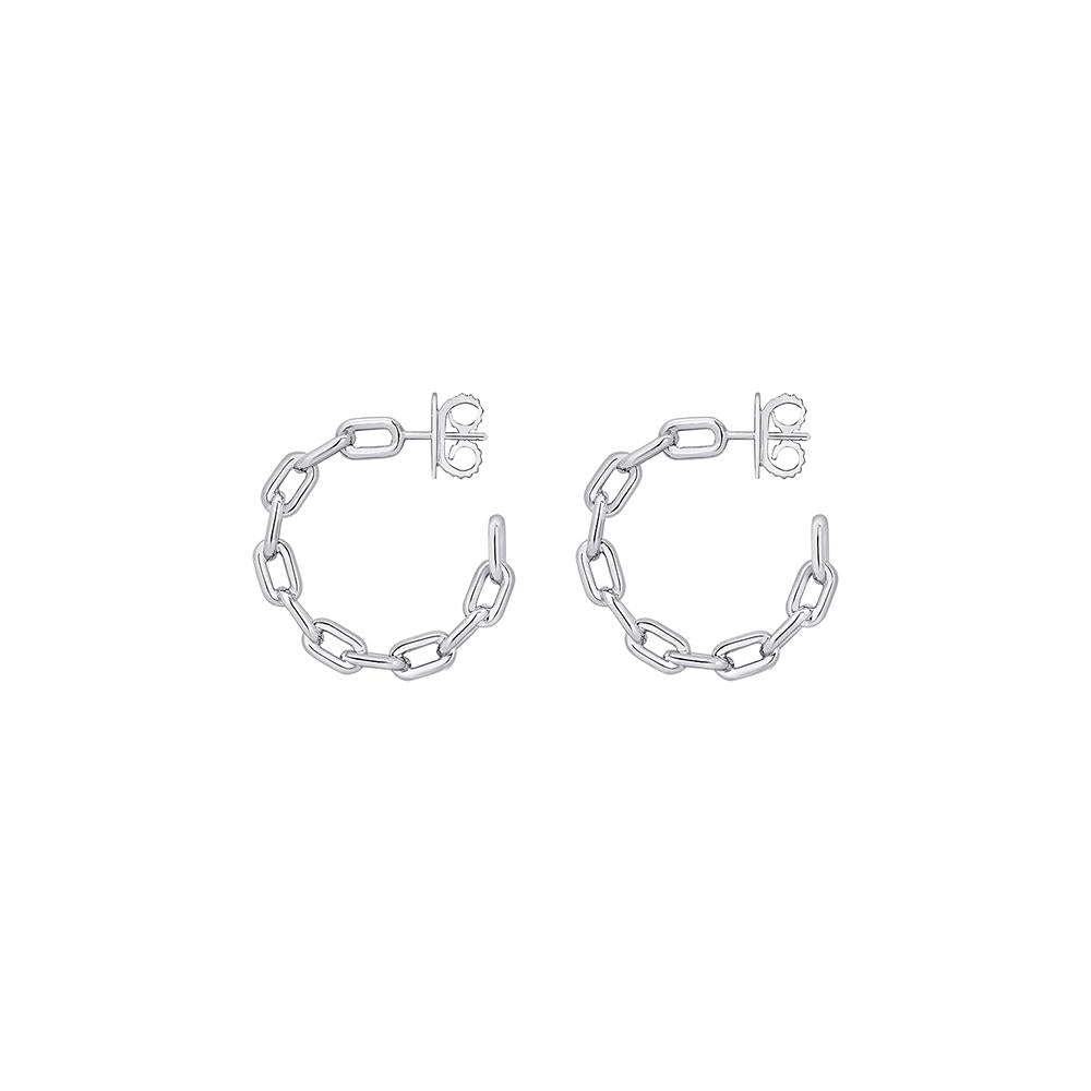 Small Chain Hoop Earrings With White Rhodium Plated Silver