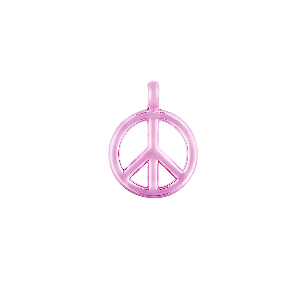 Small Peace and Love Pendant Silver with Pink Lacquer