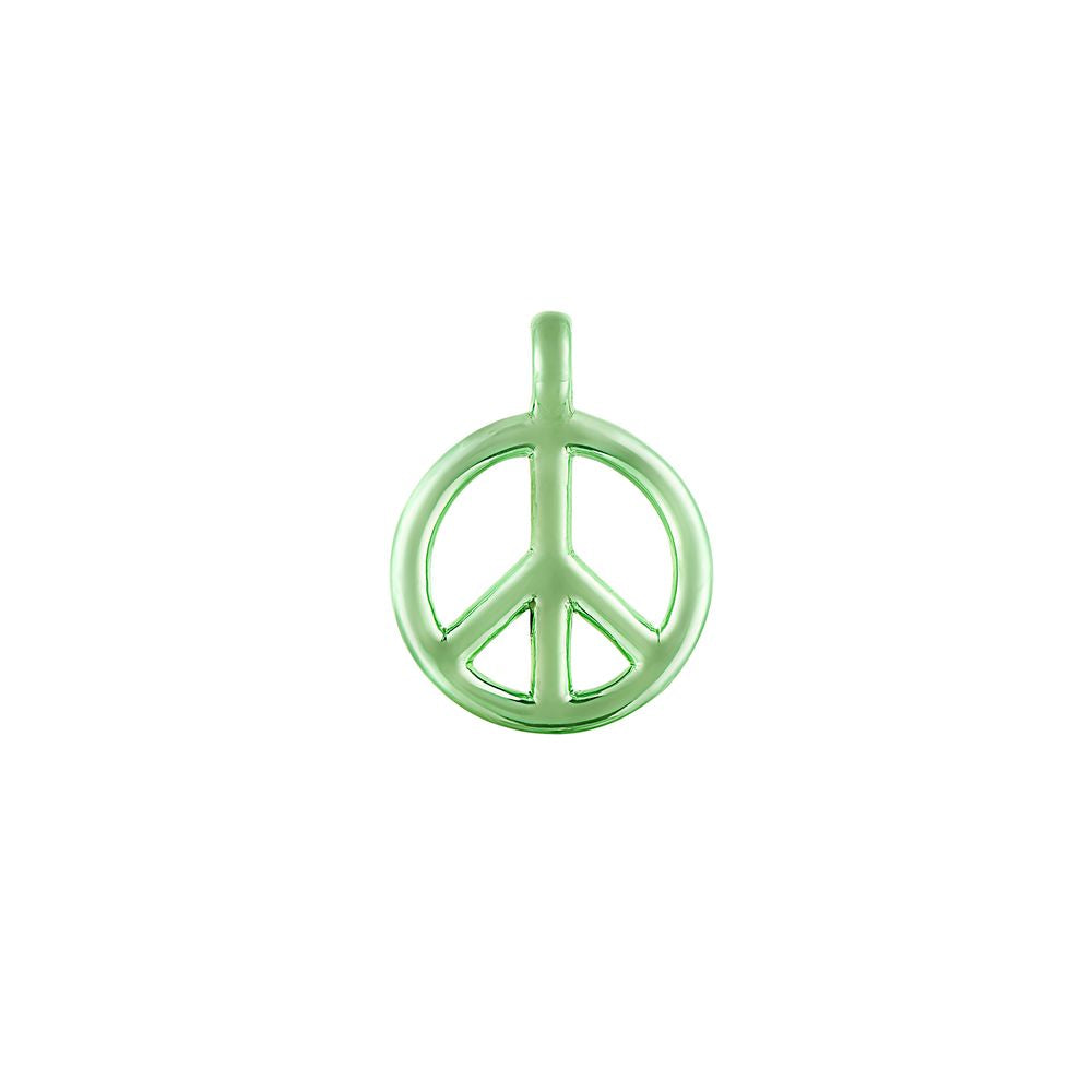 Small Peace and Love Pendant Silver with Green Lacquer