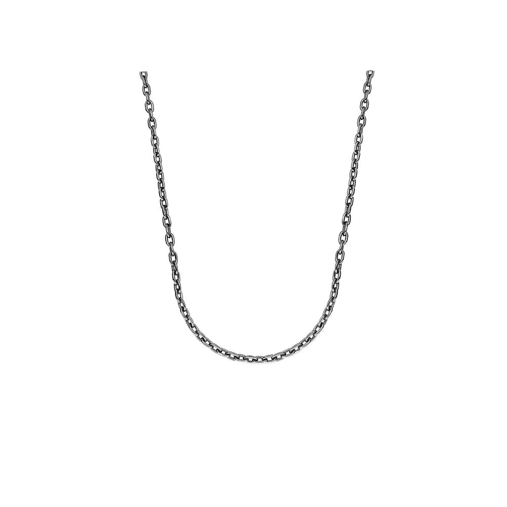 Solid Chain Necklace With Black Rhodium Plated Silver