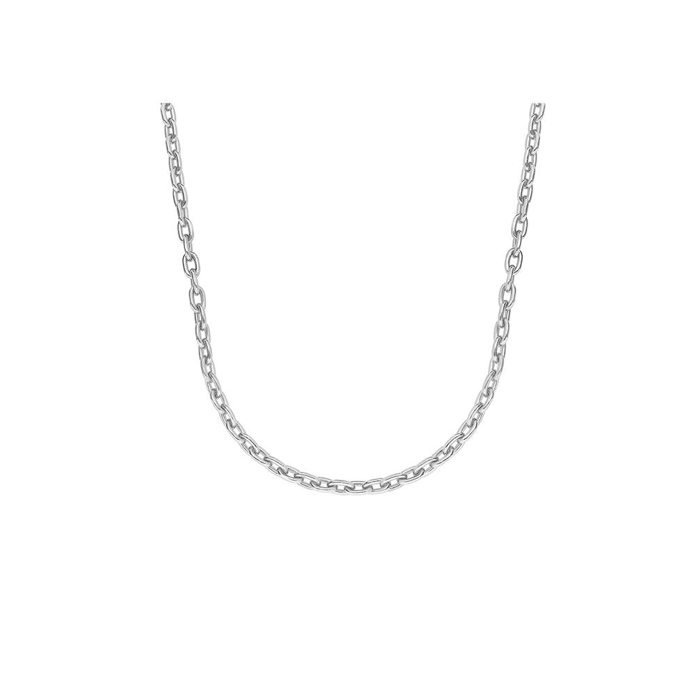 Solid Chain Necklace With White Rhodium Plated Silver