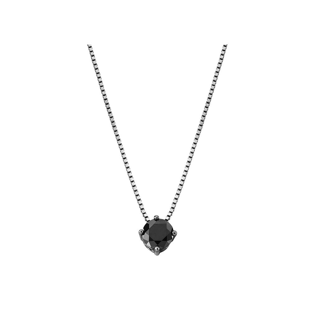 Solitaire Necklace With White Gold 18K With Black Diamond 0,87Ct - Size S