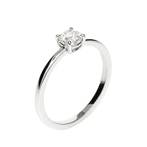 Solitary Ring 18K White Gold and 0,41Ct Solitary Diamond