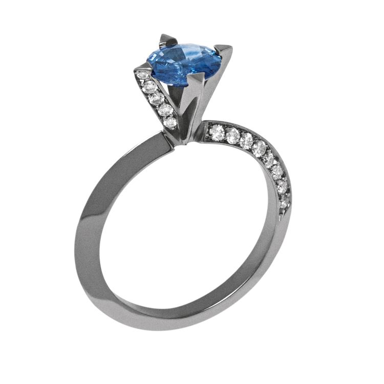 Solitary Spike Ring 18K White Gold with Black Rhodium, Sapphire and LLB Diamonds