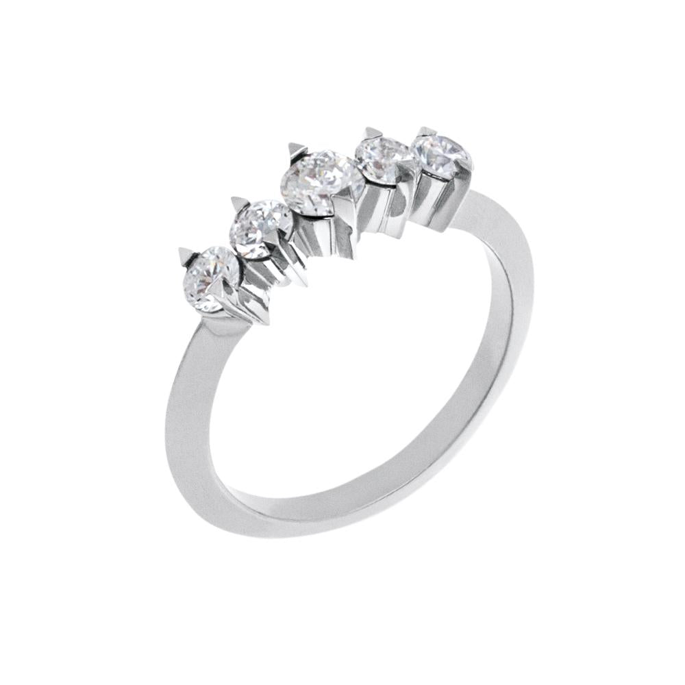 Spike Diamond Ring With 18K White Gold With Diamonds 0,75Ct