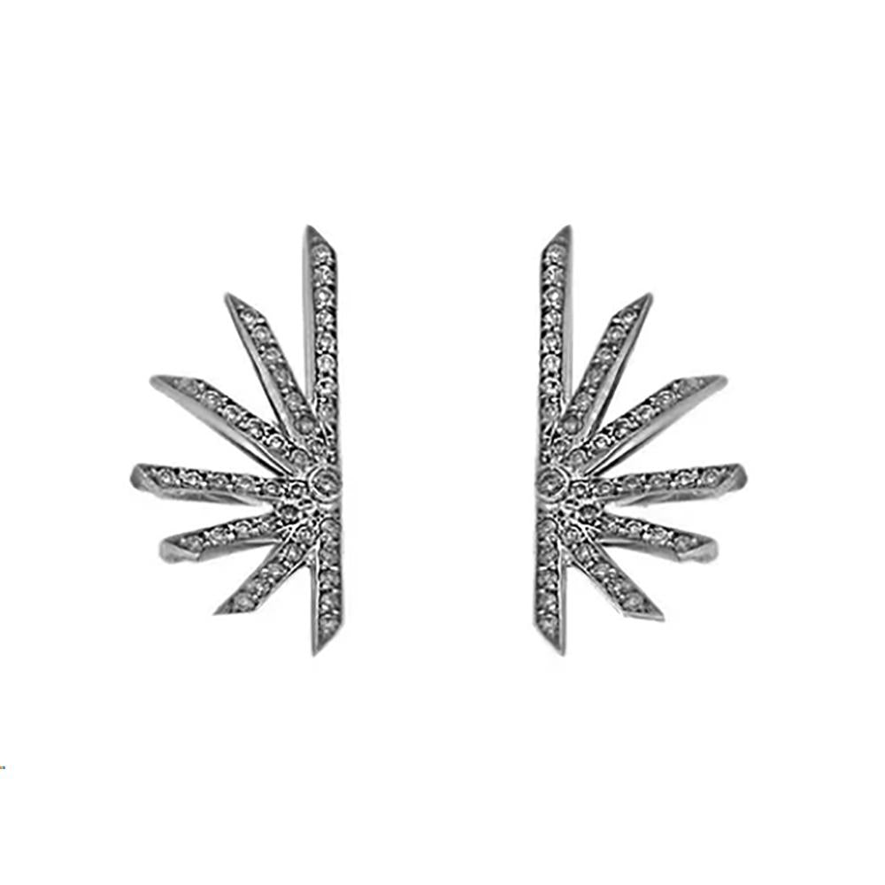 Star Earring With White Gold 18K With Black Rhodium And Diamonds Llb 4,19Ct