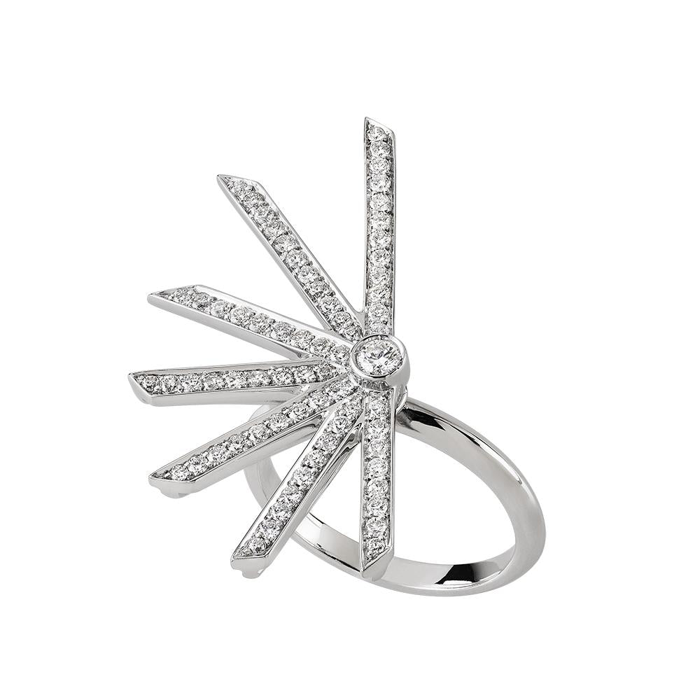 Star Ring With White Gold 18K And Diamonds 0,74Ct