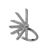 Star Ring With White Gold 18K With Black Rhodium And Diamonds Llb 0,74Ct