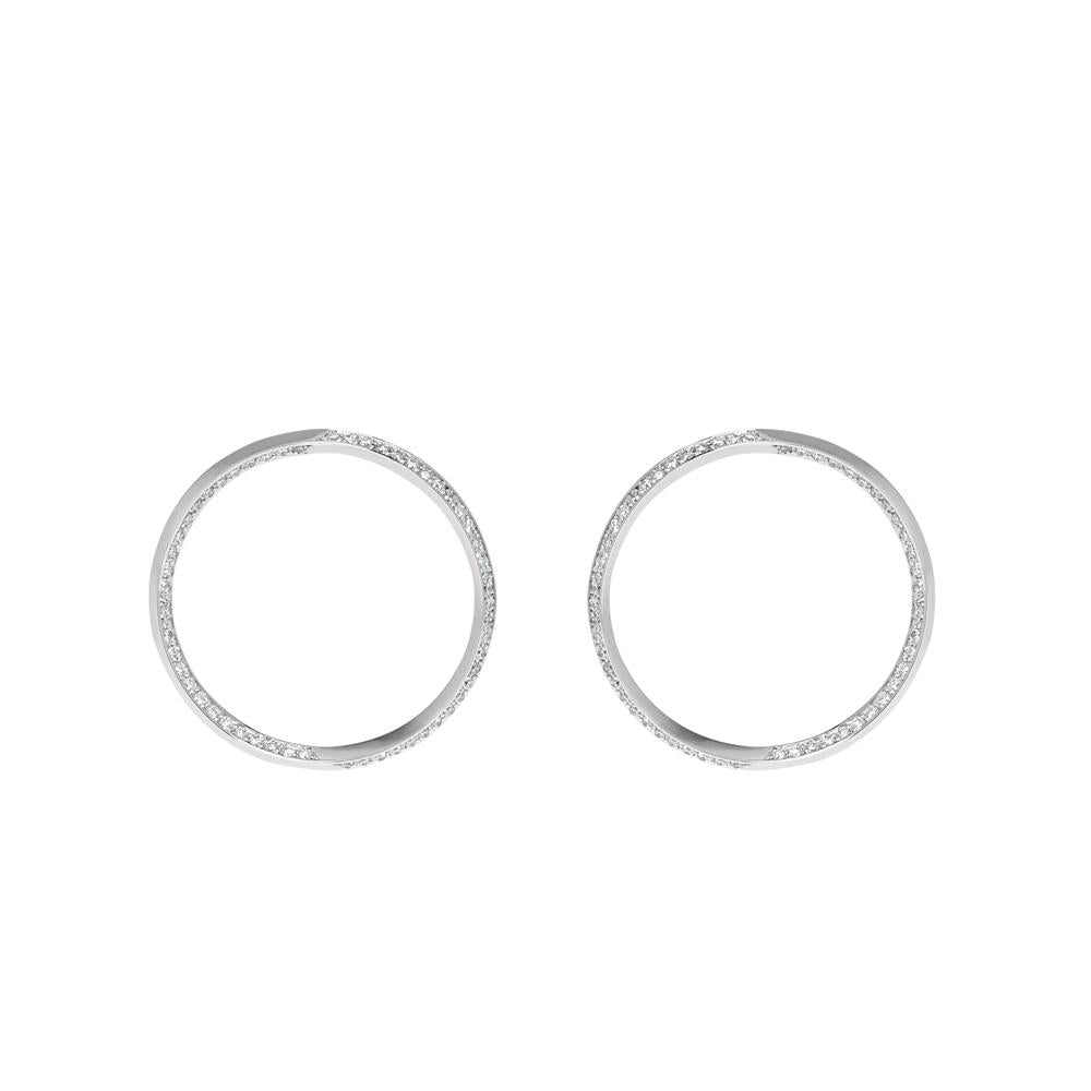 Style Hoop Earrings With 18K White Gold And Diamonds 1,00Ct