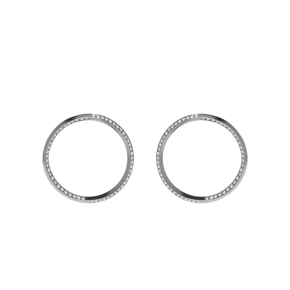 Style Hoop Earrings With 18K White Gold With Black Rhodium And Light Light Brown Diamond 1,00Ct