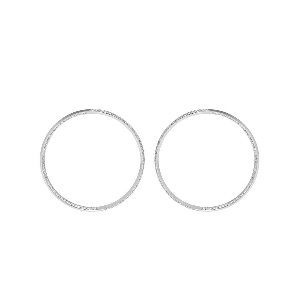 Style Hoop Earrings With 18K White Gold With Diamonds 1,65Ct