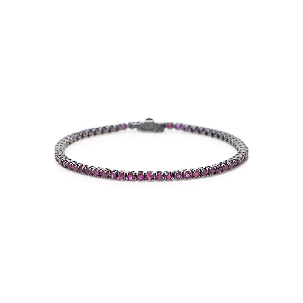 Tennis Bracelet With White Gold 18K With Black Rhodium And Rubis 4,80Ct