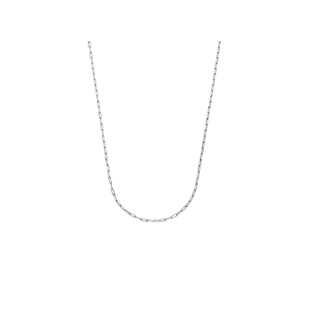 Thick Long Jv Man Ii Chain Necklace With White Rhodium Plated Silver
