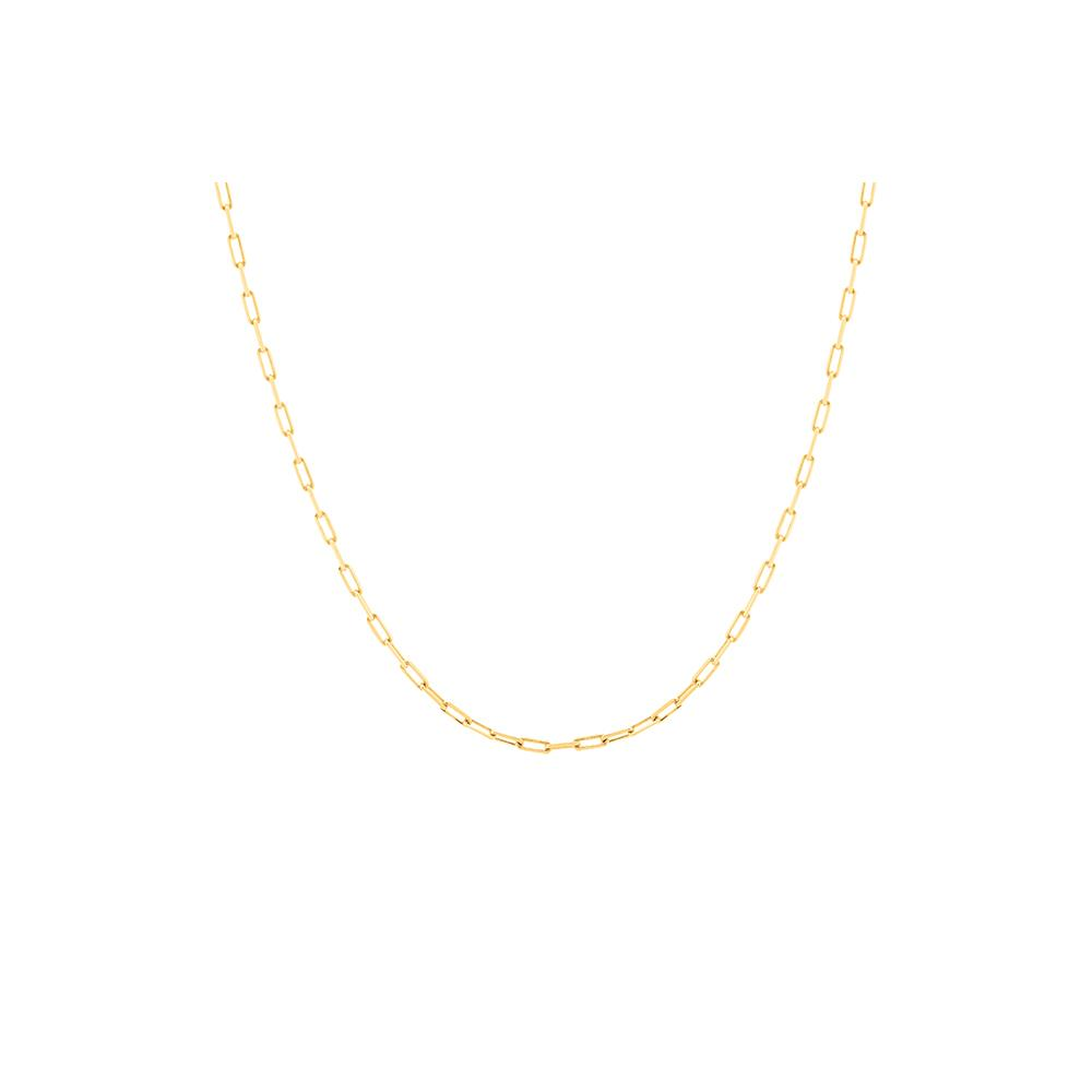 Thin Long Pop Chain Necklace With 18K Yellow Gold Plated Silver