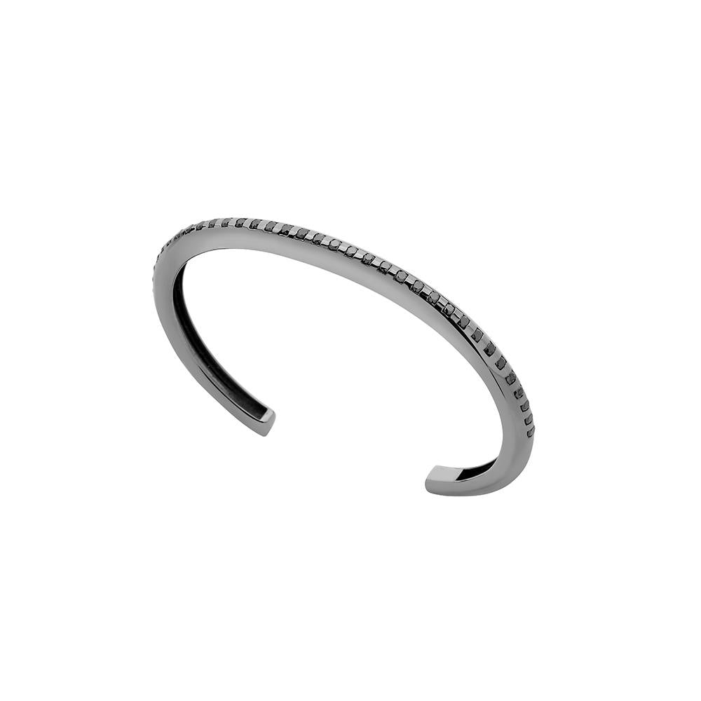 Tube Bracelet With Black Rhodium Plated Silver With Black Diamonds