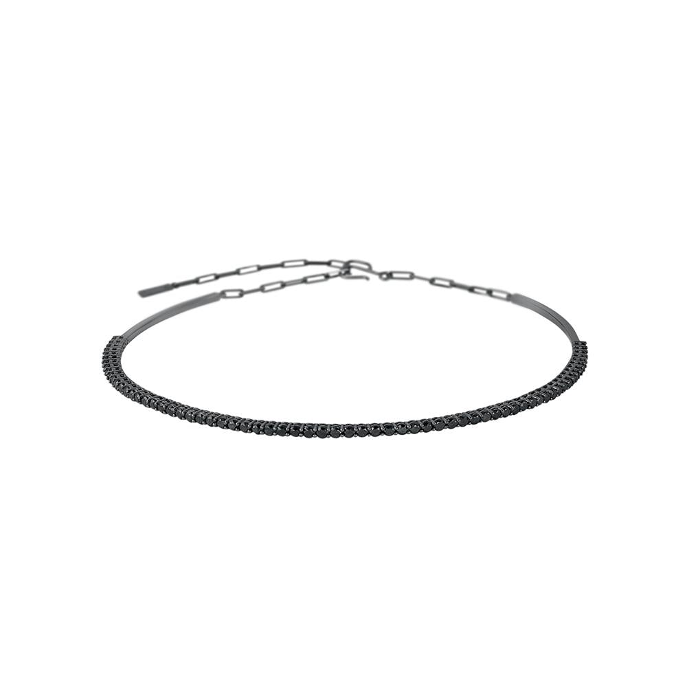 Voyeur Choker With 18K White Gold With Black Rhodium And Black Diamonds