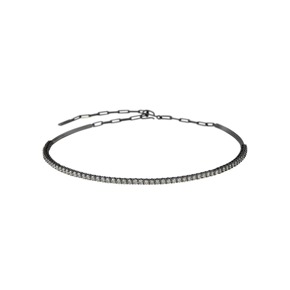 Voyeur Choker With 18K White Gold With Black Rhodium And Llb Diamonds