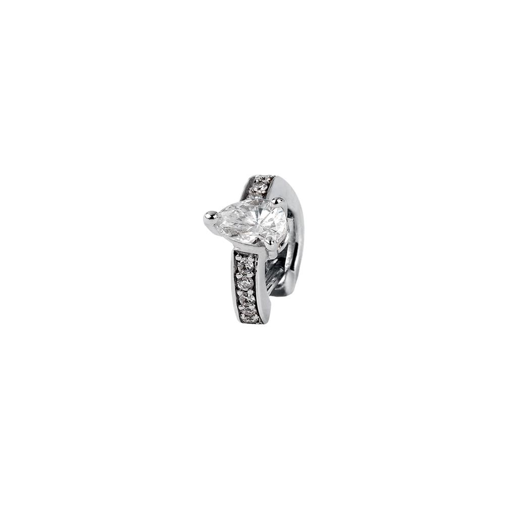 Voyeur Drop Ear Cuff With 18K White Gold With Diamonds 0,18Ct And 0,06Ct