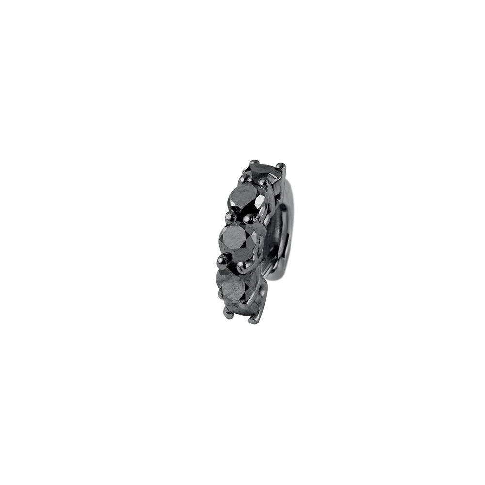 Voyeur Ear Cuff With 18K White Gold With Black Rhodium And Black Diamonds