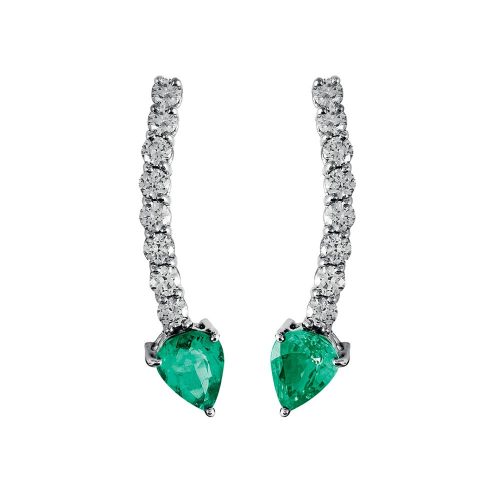Voyeur Emerald Comet Earrings With 18K White Gold With Diamonds 1,07Ct And Emeralds 1,90Ct
