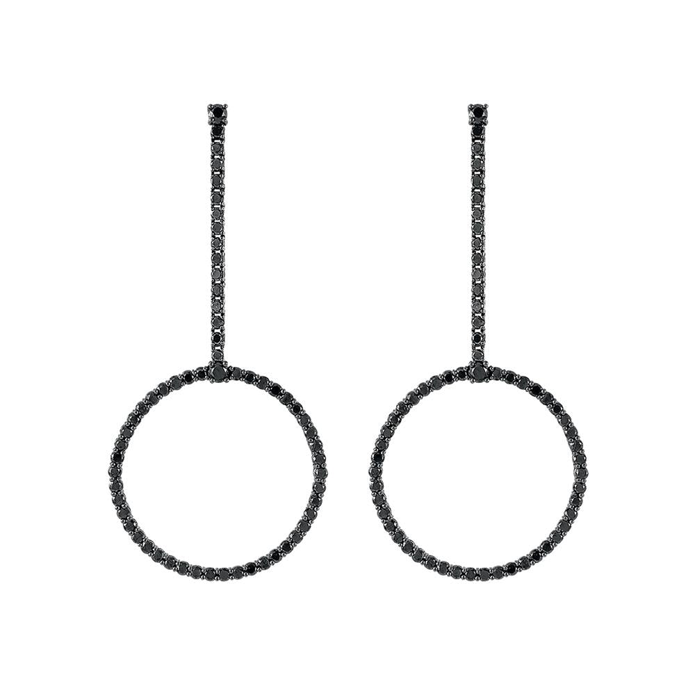 Voyeur Hoop Earrings With 18K White Gold With Black Rhodium And Black Diamonds 7,98Ct