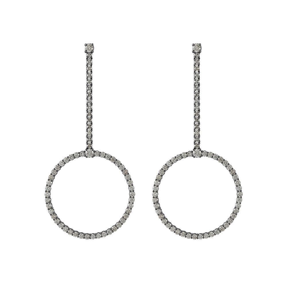 Voyeur Hoop Earrings With . 18K White Gold With Black Rhodium And Llb Diamonds