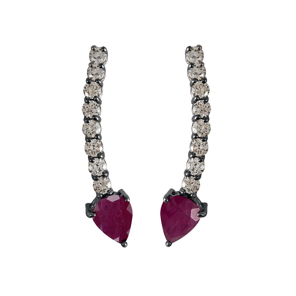 Voyeur Ruby Comet Earrings With 18K White Gold With Black Rhodium , Llb Diamonds 1,07Ct And 3,30Ct Rubies 3,30Ct
