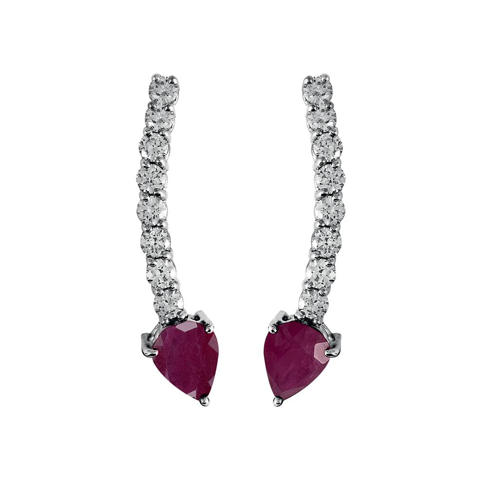 Voyeur Ruby Comet Earrings With 18K White Gold With Diamonds 1,07Ct And Rubies 3,30Ct