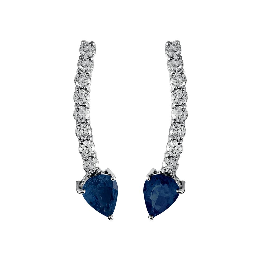 Voyeur Sapphire Comet Earrings With 18K White Gold With Diamonds