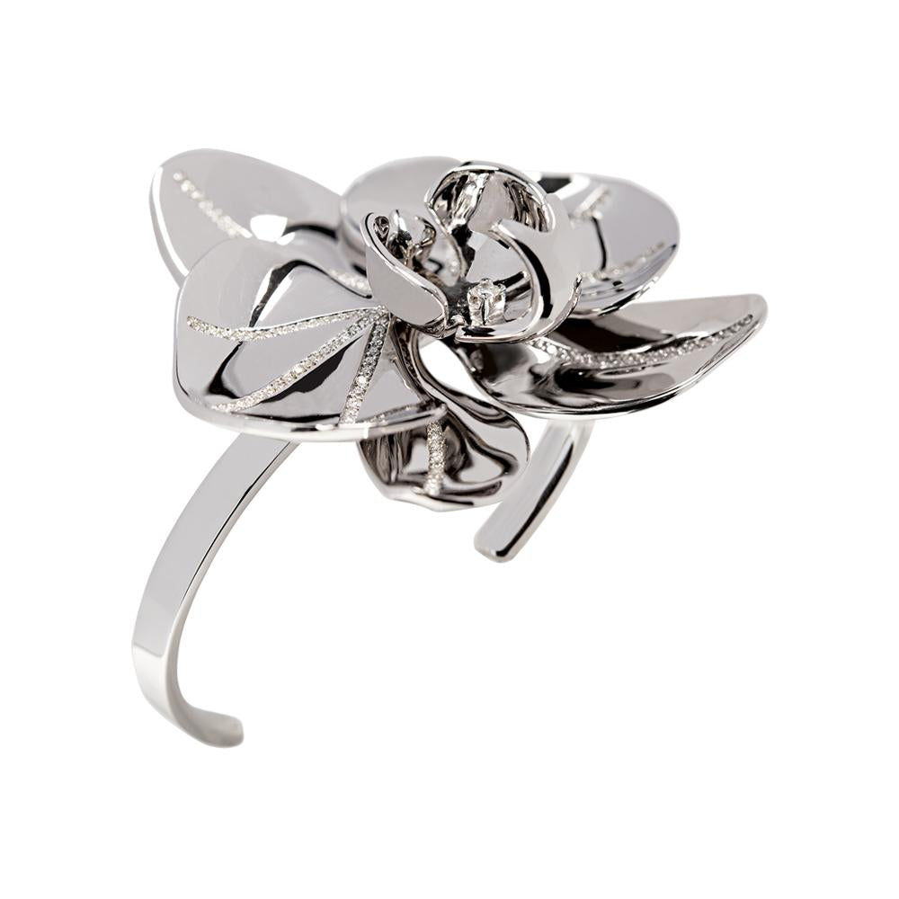 White Orchid Cuff With 18K White Gold With Diamonds