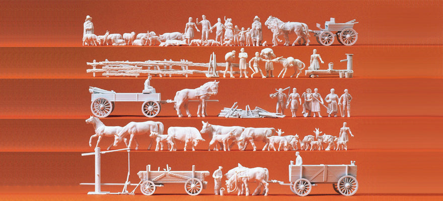 PREISER # 16327 - RURAL GROUPS AND WAGONS, UNPAINTED FIGURES