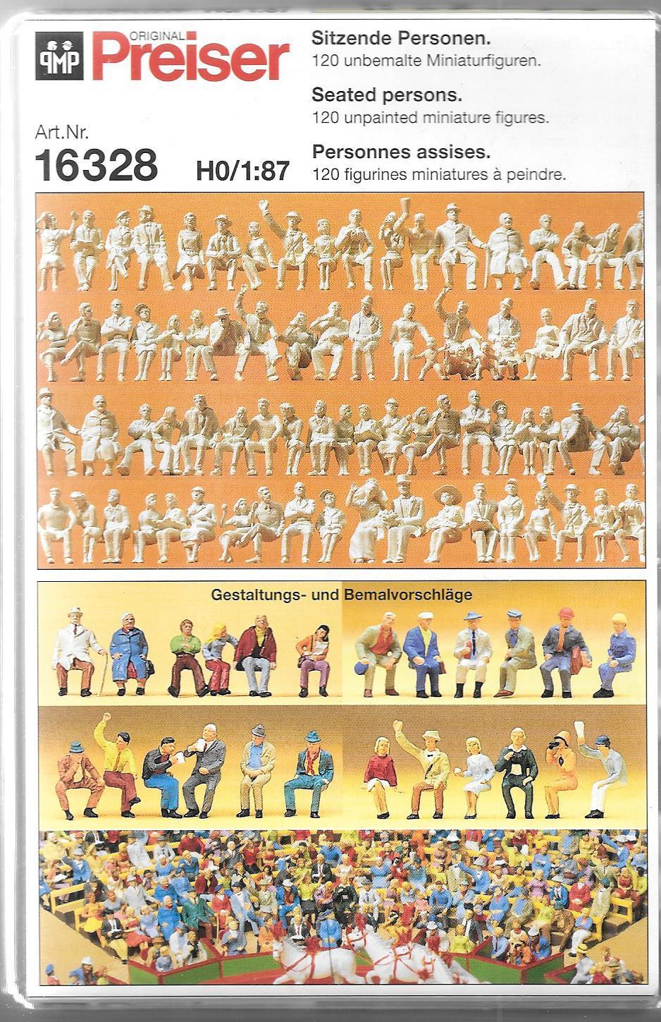 PREISER # 16328 - SEATED PERSONS - UNPAINTED  FIGURES