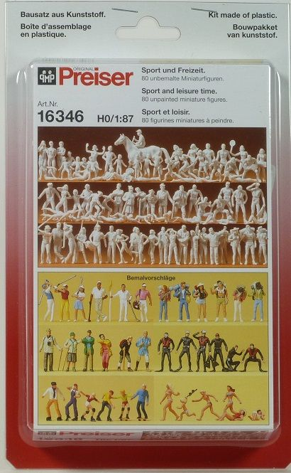 PREISER # 16346 - SPORT AND LEISURE TIME - UNPAINTED FIGURES